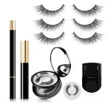 SISILILY 3 Pairs No Megnet No Glue Reusable Fake Eyelashes with Eyeliner Set 3D Waterproof Handmade Eyelashes Kit with Mascara (Morphing)