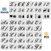 40 pcs 80 Designs Extra Large Stencils Alphabet Letters Numbers Stencils for Painting Writing on Paper Signage Bistro, Stencil for Decorating on Fabric Wood Rock Glass Ceramic, DIY Plastic Stencils