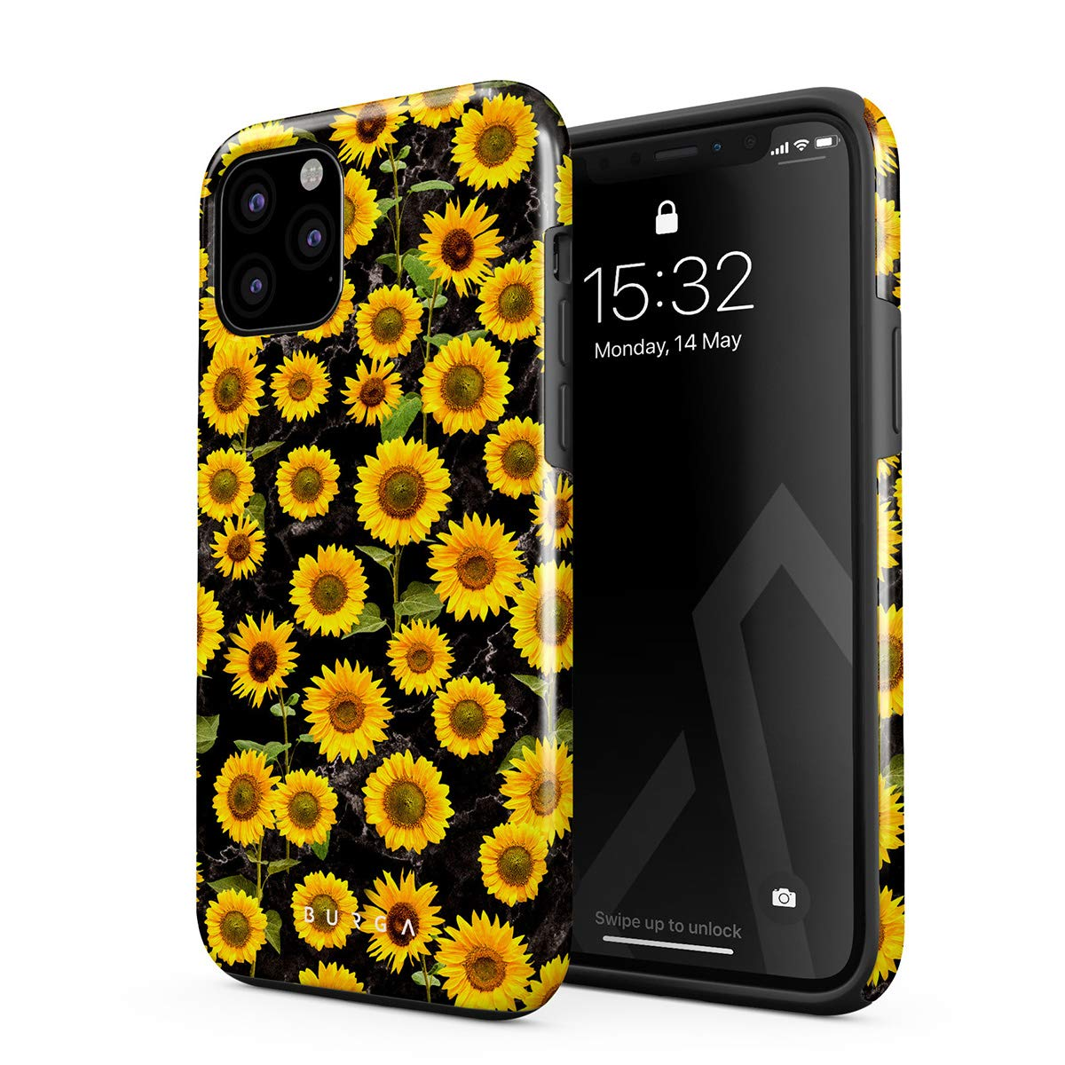 BURGA Phone Case Compatible with iPhone 11 PRO - Yellow Sunflowers Vinatge Flowers Floral Print Pattern Fashion Cute for Women Heavy Duty Shockproof Dual Layer Hard Shell + Silicone Protective Cover