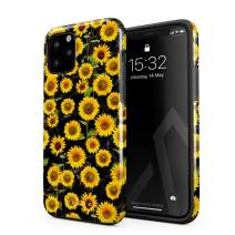 BURGA Phone Case Compatible with iPhone 11 PRO MAX - Yellow Sunflower Vinatge Flower Floral Print Pattern Fashion Cute for Women Heavy Duty Shockproof Dual Layer Hard Shell+Silicone Protective Cover