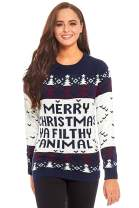 Unisex Women's Ugly Christmas Sweater Knit Funny Fairisle Filthy Animal Pullover