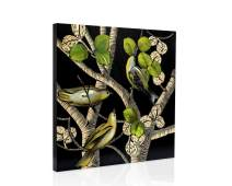 H HOMEPAINT Hand Painted Hand Carved Wood Wall Painting Art Birds in The Jungle Wall Decor for Living Room Office 23.6 x 23.6 x 1.6 Inch