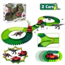 Dinosaur Race Track Toys, Flexible Train Track Triceratops Tyrannosaurus Rex 2 Electric Cars Vehicle Playset, Educational Toys for 3 4 5 6 7 8 Years Old Boys Girls Toddlers, Kids Gift (128 PCS)