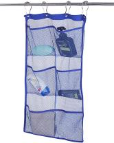 ALYER 6 Storage Pockets Hanging Mesh Shower Caddy,Space Saving Bathroom Accessories and Quick Dry Bath Organizer,Blue