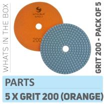 "Stadea PPW243D Diamond Polishing Pads 5"" For Concrete Terrazzo Marble Granite Countertop Floor Wet Polishing, Grit 200 - Pack of 5"
