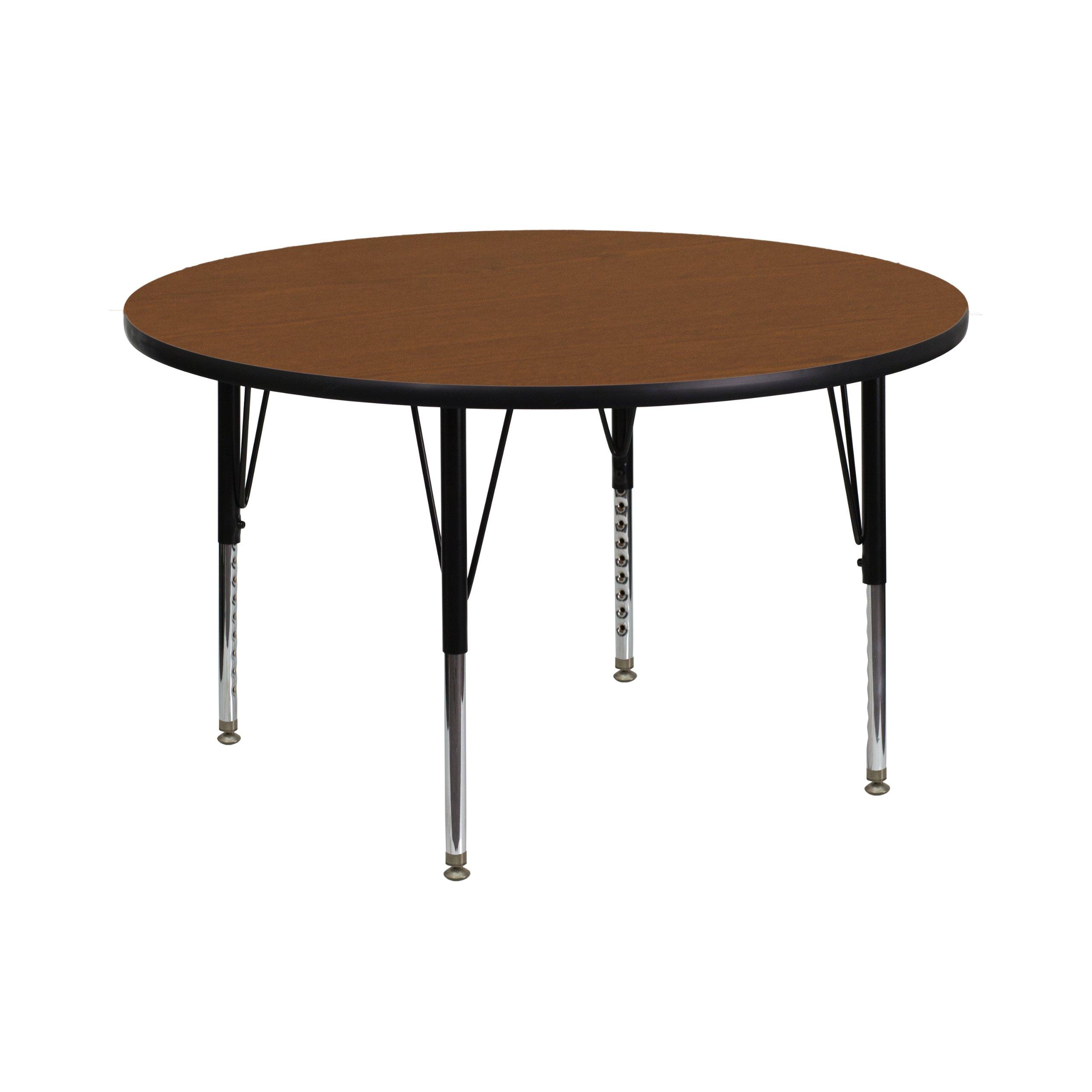 Flash Furniture 42'' Round Oak HP Laminate Activity Table - Height Adjustable Short Legs