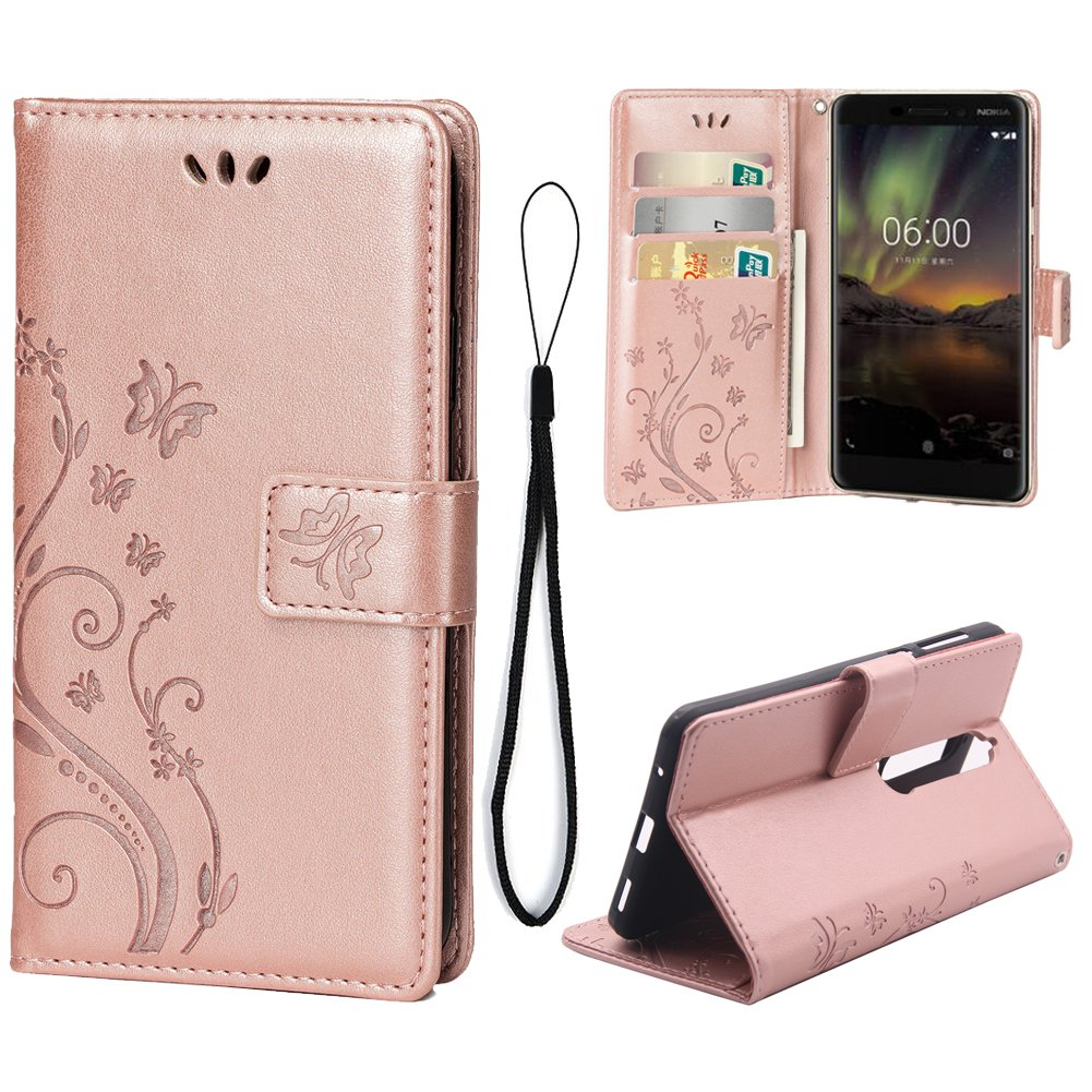 Teebo Case Compatible for Nokia 6.1/Nokia 6 2018, Wallet Stand Cover with 3 Card Holder [Embossed Butterfly] Flower PU Leather Magnetic Flip Cover for Nokia 6 2018 (Rose Gold)
