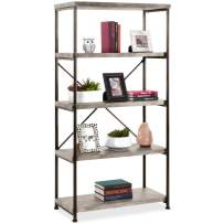 Best Choice Products 5-Tier Rustic Industrial Bookshelf Display Décor Accent for Living Room, Bedroom, Office w/Metal Frame, Wood Shelves - Gray