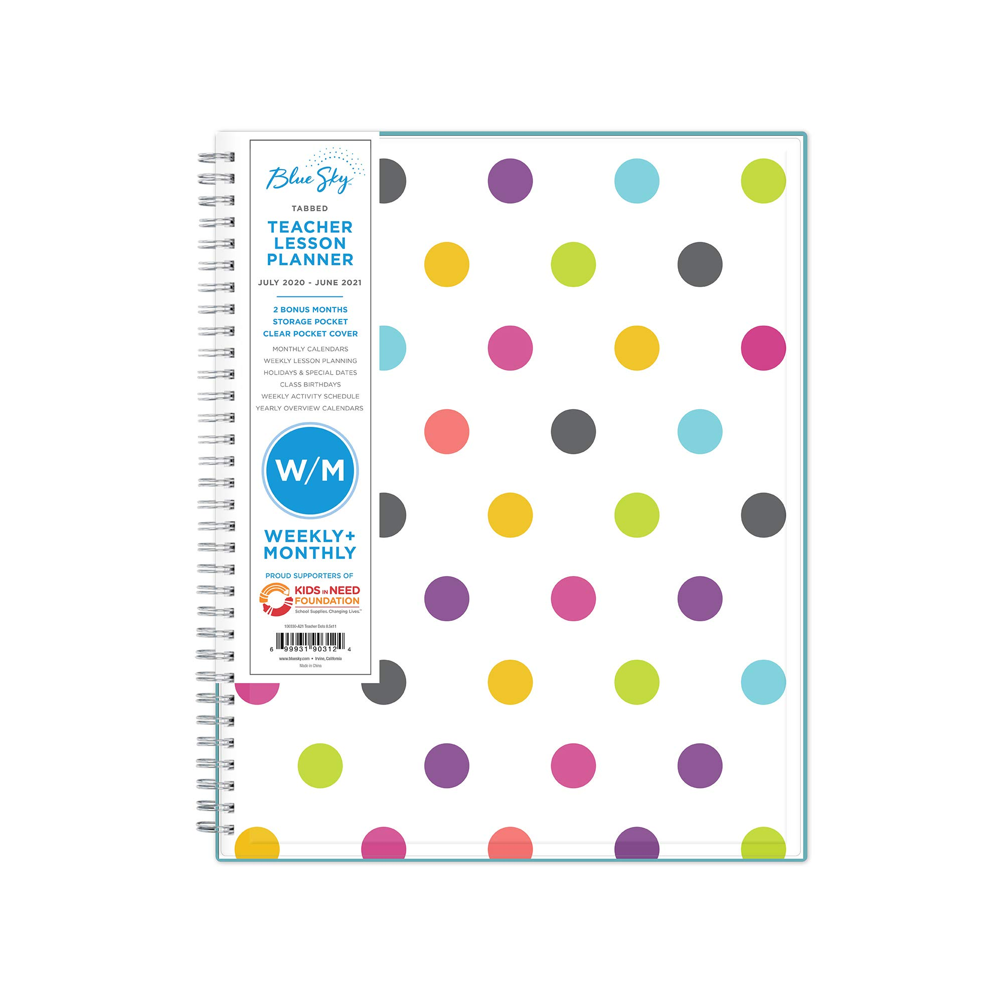 """Blue Sky 2020-2021 Academic Year Teachers Weekly & Monthly Lesson Planner, CYO Cover, 8.5"""" x 11"""", Dots"""