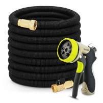 GROWNEER 50ft Garden Hose Expandable Water Hose Hosepipe with 8 Functions Alloy knob Nozzle Sprayer, Double Latex Core, 3/4 Solid Brass Fittings, Hanger, Storage Bag