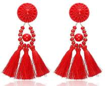 """IDB Delicate Fringe Resin Bead Tassel Earrings with a Large 3 13/16"""" (3.82"""" / 98mm) Drop- Beaded Nylon Cord Tassels - Multiple Colors Available"""