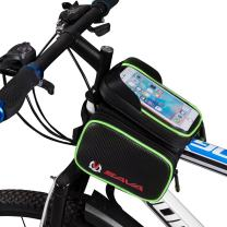 SAVADECK Water Resistant Cycling Frame Bags, Head Front Top Tube Frame Pannier Bag Double Pouch Phone Storage Bag for Cellphone Below 6.0 inch and iPod, MP3, GPS Holder