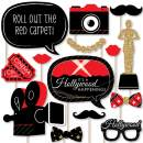 Big Dot of Happiness Red Carpet Hollywood - Movie Night Party Photo Booth Props Kit - 20 Count