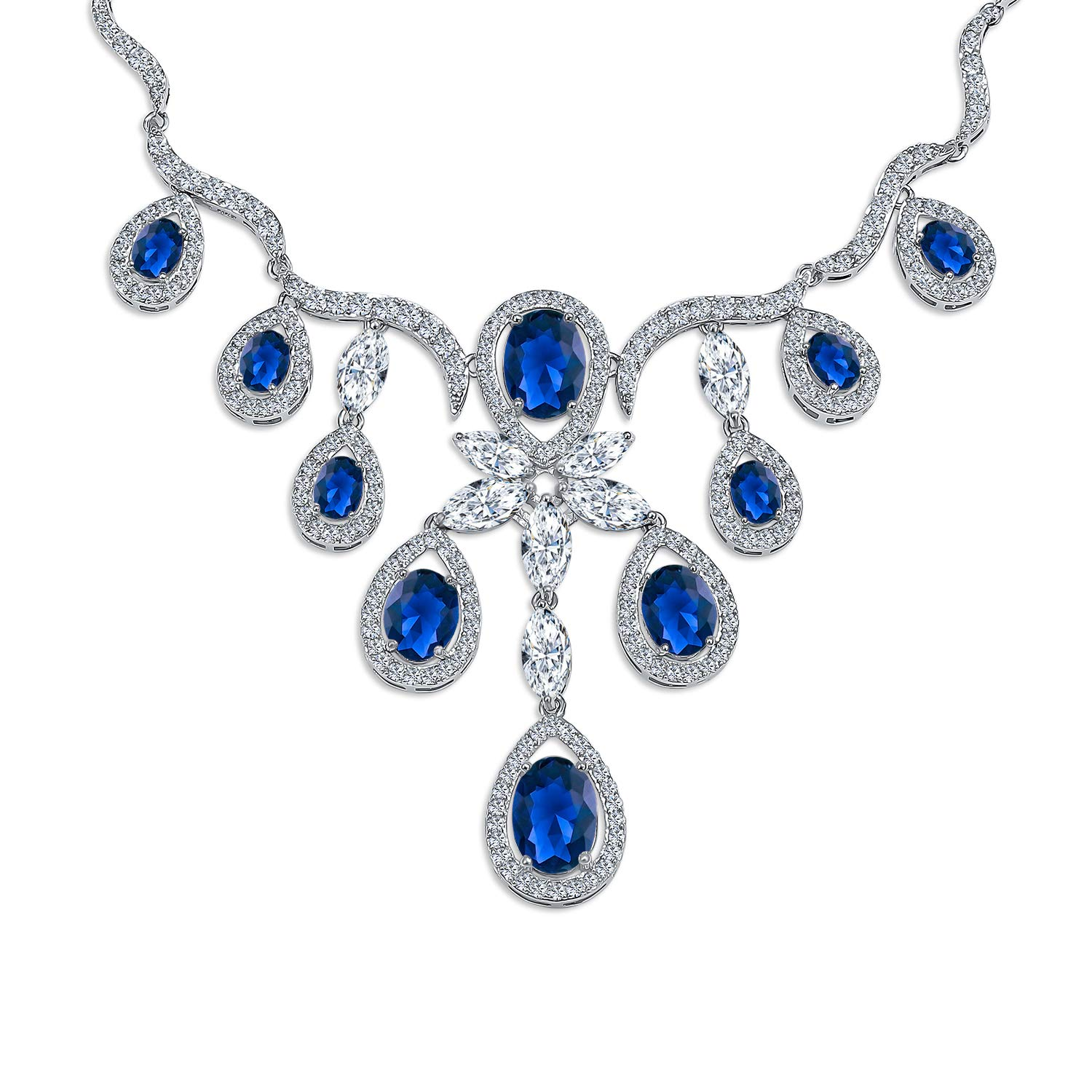 Bling Jewelry Blue AAA CZ Multi Teardrop Wave Simulated Sapphire Statement V Shape Necklace for Women for Prom Pageant Silver Plated