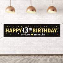 Large Happy 13th Birthday Banner,Official Teenager Banner,13 Year Old Birthday Party Decorations,Home Yard Outdoor Lawn Sign Decorations