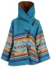 Tanming Womens Winter Wool Blend Floral Print Boho Bell Sleeve Hoody Duffle Overcoat