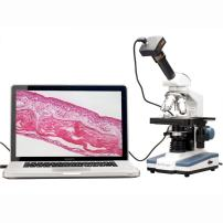 AmScope M620B-10M Digital Compound Monocular Microscope, WF10x and WF20x Eyepieces, 40x-2000x Magnification, Brightfield, LED Illumination, Abbe Condenser, Mechanical Stage, 110V, Includes 10MP Camera with Reduction Lens and Software