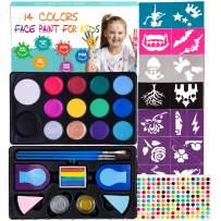 Maydear Face Paint Kit for Kids,14 Large Paints,52- Stencils,160 Gems,2 Hair Chalk,2 Glitter Non-toxic,Professional Face Paint Palette,Halloween Makeup Kit