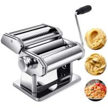 Pasta Maker Machine, Tobeelec Stainless Manual Pasta Maker Includes Pasta Roller, Cutter, Hand Crank and Clean Brush for Homemade Spaghetti and Fettuccini, Lasagna