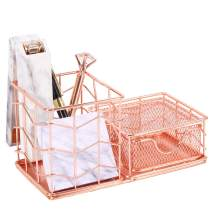 Simmer Stone Desk Accessories Organizer, 2 Compartments - Pen Holder and Sticky Note Holder, Wire Desktop Stationery Caddy with Drawer for Office Supplies, Rose Gold