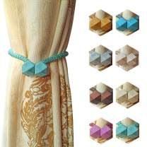 Melanovo 4 PCS Magnetic Curtain Tiebacks, The Most Convenient Drape Tie Backs, Rope Holdback Simple Modern Holders for Home Curtains, PeacockBlue