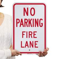SmartSign No Parking - Fire Lane Sign   12 x 18 Inches Engineer Grade Reflective ACM, Laminated for Protection, Rust-Free