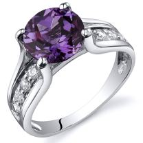 Peora Simulated Alexandrite Cathedral Ring in Sterling Silver, Round Shape, 8mm, 2.75 Carat total, Comfort Fit, Sizes 5 to 9