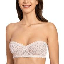 DOBREVA Women's Lace Strapless Balconette Bandeau Tube Top Unlined Underwire Bra