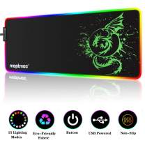 RGB Gaming Mouse Pad, Soft Extra Large LED Mouse Pad with 15 Lighting Modes,Anime Dragon Mouse Pad Mat,Smooth Surface Waterproof Gamer Mouse Pad for Computer 31.5 X 12 Inch (Green)