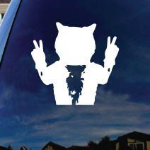"SoCoolDesign Cat Kitty Peace Sign Car Window Vinyl Decal Sticker 5"" Wide (White)"