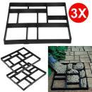 go2buy 3PCS Paving Pavement Concrete Mould Stepping Stone Mold Garden Lawn Path Paver Walk, 23.8 x 19.9 x 1.7
