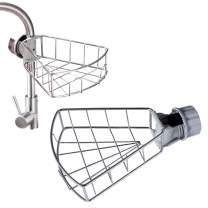 Homcosy Sponge Holder Sink Caddy Organizer, Kitchen Stainless Steel Faucet Storage Rack Hanging, Soap Sponge Brush Scrubber Drain Rack for Kitchen&Bathroom Accessories,Large