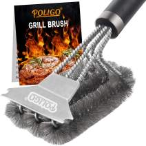 POLIGO Grill Brush and Scraper with Deluxe Handle - Safe Wire Stainless Steel BBQ Brush for Gas Infrared Charcoal Porcelain Grills - Ideal Gift BBQ Grill Cleaning Brush for Grill Wizard Grate Cleaner