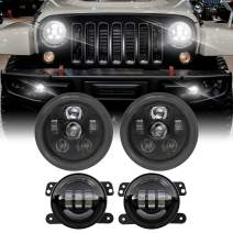 DOT Approved 7 Inch Round LED Headlights with 4 inch LED Fog Lights Compatible with Jeep Wrangler JK JKU LJ TJ 4 door 2 Door Reedom Edition Rubicon Sahara Willys Wheeler 6Bulbs