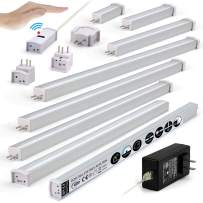 EBD LED Under Cabinet Lighting Set Hand Wave Activated Touchless Dimmable Control, Direct-Connection Design & Cross Connector 12 inch Slim Counter Light 42LED, 5.4W, 2100Lm 6500K Cool White Pack 8