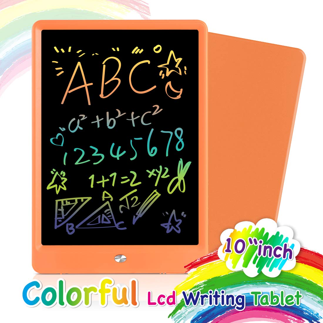Orsen LCD Writing Tablet 10 Inch, Colorful Doodle Board Drawing Tablet, Erasable Reusable Writing Pad, Educational Boys Girls Toys Gifts for 2-6 Year Old Girls Boys(Orange)
