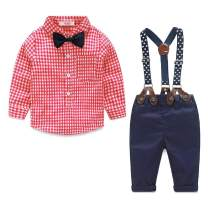 Summer Boys Clothes Sets Toddler Boy Outfits Gentleman Suits 2pcs Bow Tie Shirts and Suspenders Pants