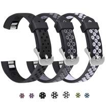 SKYLET Compatible with Fitbit Ace/Fitbit Alta Hr Bands, 3 Pack Soft Breathable Sport Wristbands Compatible with Fitbit Alta Kids Band Men Women(Black-Black, Black-Gray, Black-White Small)