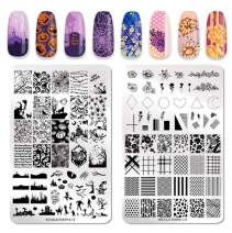 NICOLE DIARY 2Pcs Stamping Plates XL Nail Stamping Templates Halloween Series Plaid Flowers Plate Nail Printing Overprint Design Tool(14.5cm x 9.5cm)