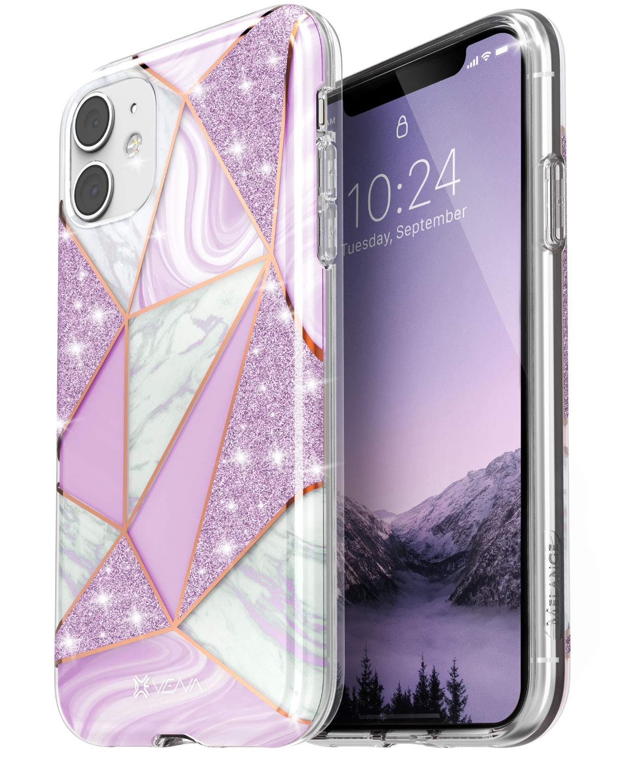Vena iPhone 11 Marble Glitter Case, Melange Glitter Marble Bumper Protective Case, Designed for iPhone 11 (6.1 inches) - Marble Purple