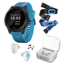Wearable4U Garmin Forerunner 945 Premium GPS Running/Triathlon Smartwatch with Included Ultimate White Earbuds with Charging Power Bank Case Bundle