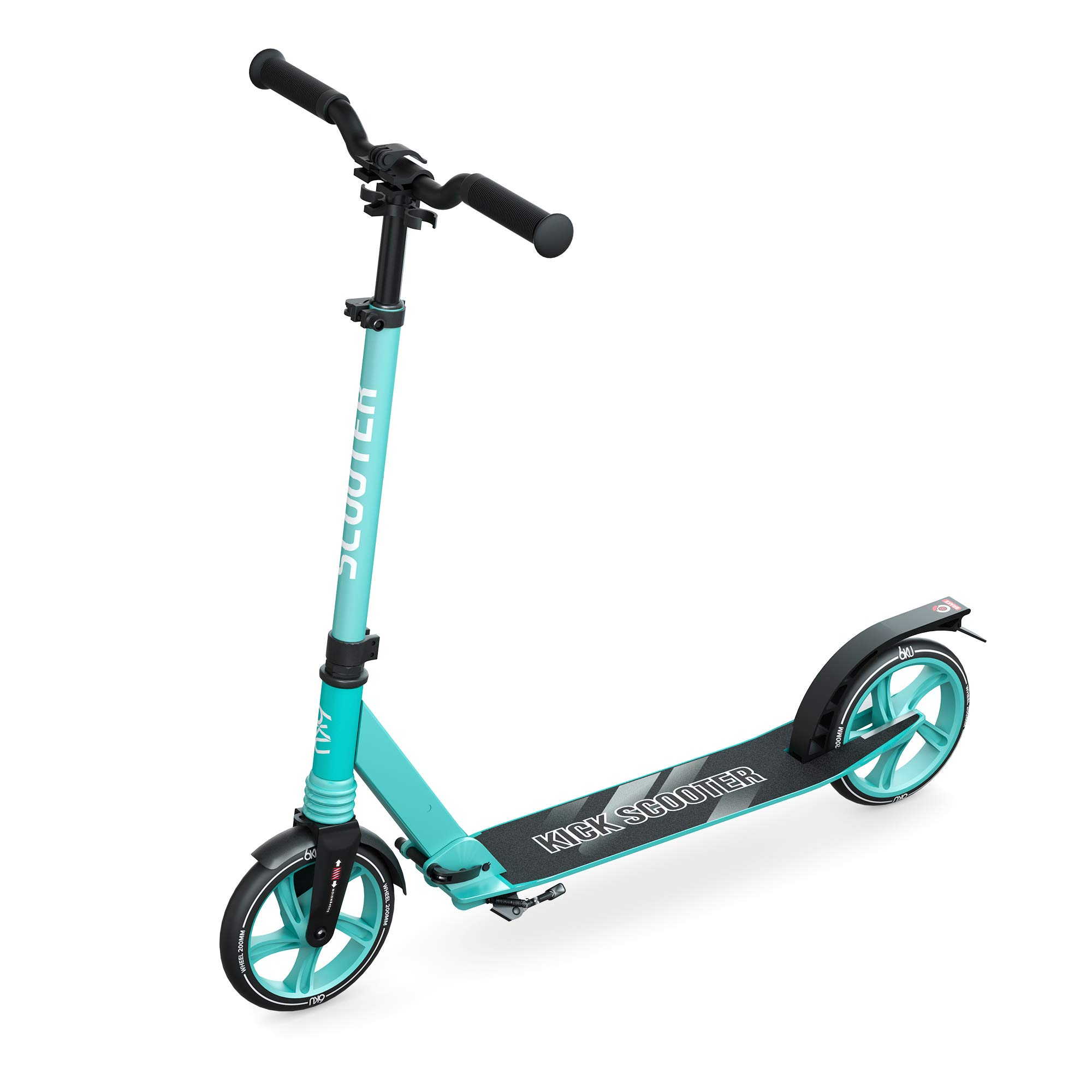 6KU Scooter for Kids 8 Years and up, Scooter for Adults with Big Wheels, Suspension Shoulder Strap Rear Fender Brake, Folding Lightweight Height Adjustable,Gift Scooter for Kids Ages 6-12
