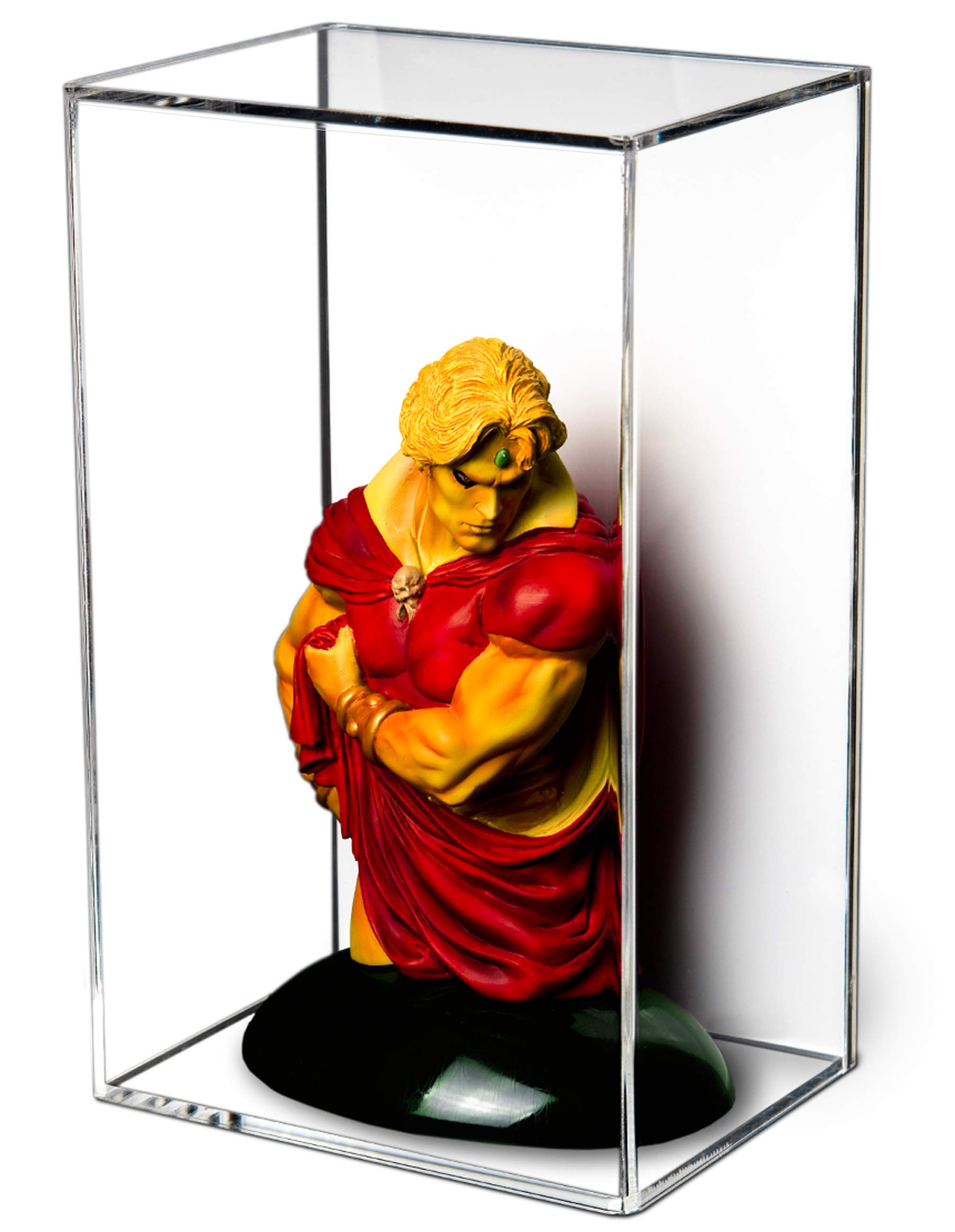 """Better Display Cases Versatile Acrylic Display Case with Wall Mount and White Back 8"""" x 6"""" x 13"""" (A044-WB-VWM)"""