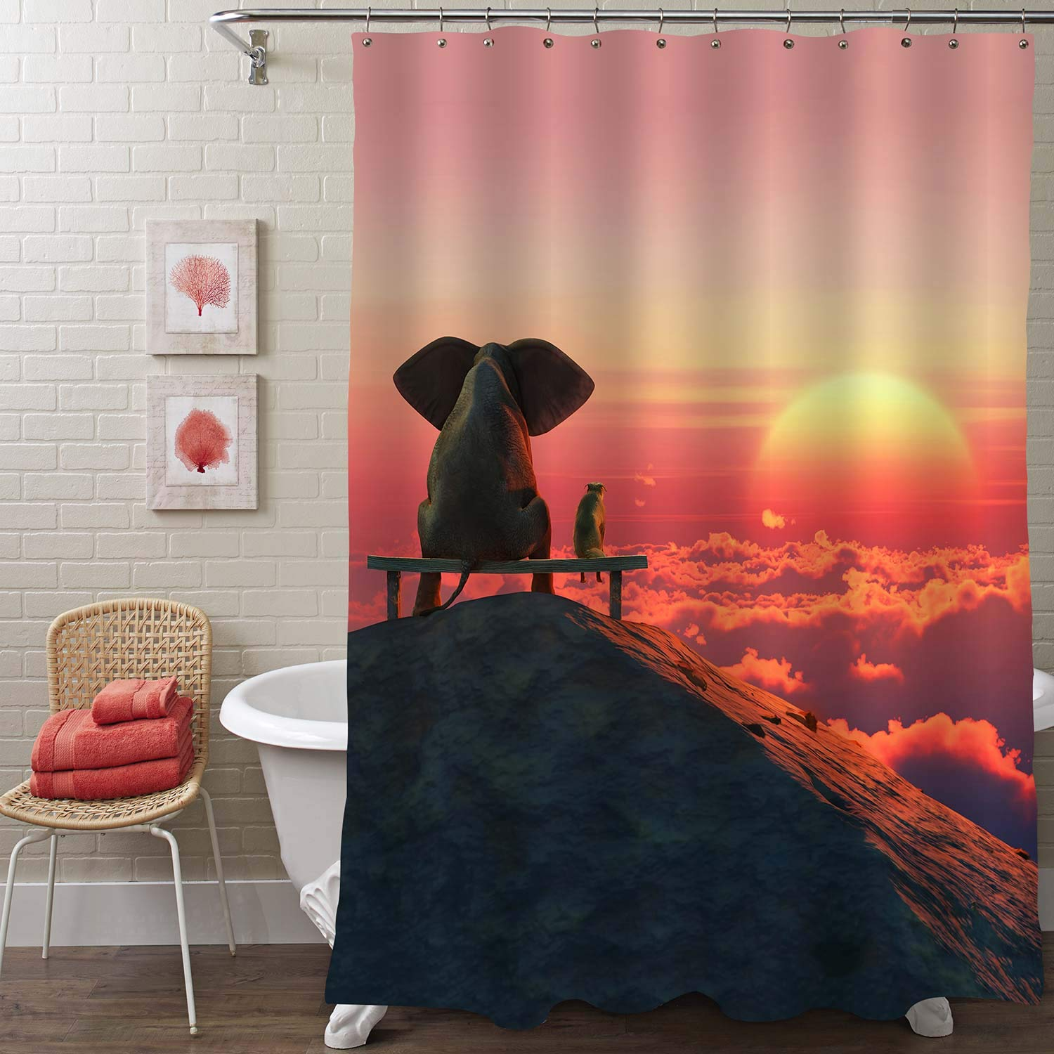 MitoVilla Elephant and Dog Sit on a Mountain Top Look at Sunrise Shower Curtain for Novelty Kid's Bathroom Decor, Waterproof and Fabric Animal Bath Curtains, 72 x 78 inches, Red
