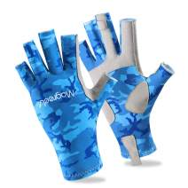 Magreel UV Protection Fishing Gloves for Men Women, UPF50+ Sun Protection Fingerless Gloves Breathable Gloves for Sailing, Cycling, Boating, Kayaking, Padding, Surfing, Hiking