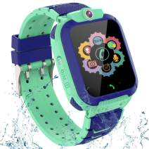 Kids GPS Smart Watch Phone for Boys Girls – Waterproof GPS Locator Smartwatch Phone with 2 Ways Call Camera Voice Chat SOS Alarm Clock Game Pedometer Wristband Gift for Student Birthday, Green