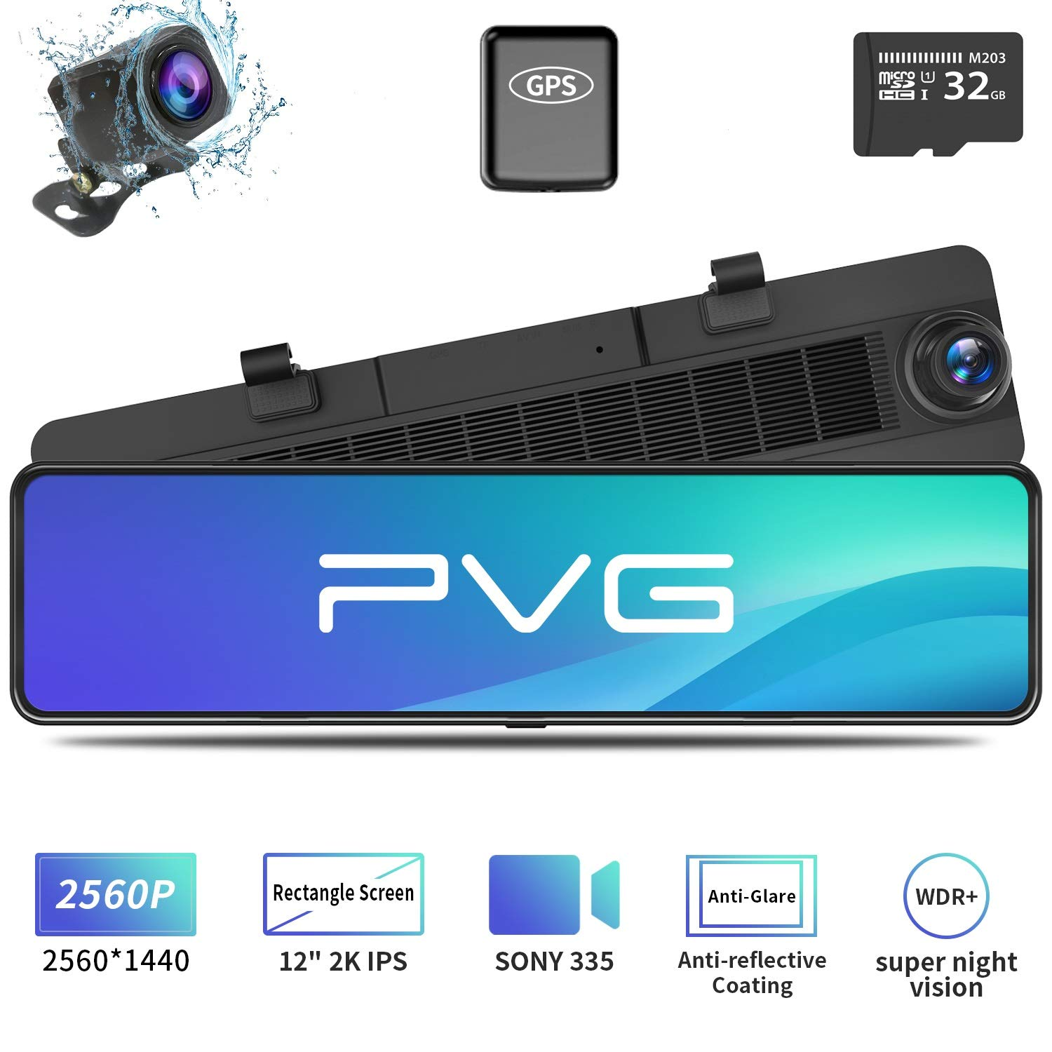 """Mirror Dash Cam Car Backup Camera 12"""" 2K IPS Full Touch Screen 2560P+1080P Resolution Front and Rear View Dual Lens, Adjustable Wide Angle, WDR Night Vision, Parking Monitor, GPS & 32GB Card Included"""