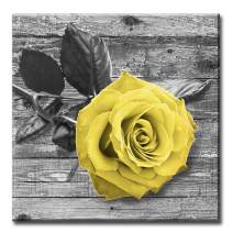 Canvas Wall Art Home Decorations for Living Room Rose Decor - Valentine's Day Flowers Pictures Black Yellow and Grey Rose Artwork Prints on Canvas for kitchen Bedroom Framed Ready to Hang 24x24inches
