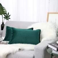 "Lewondr Velvet Throw Pillow Cover, 2 Pack Soft Solid Color Modern Square Pillow Case Throw Cushion Covers with Hem Stitch for Car Sofa Bed Home Decor, 12""x20""(30x50cm), Indigo"