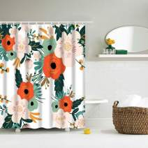 IcosaMro Floral Shower Curtain for Bathroom with Hooks, Flowers Watercolor Decorative Long Cloth Fabric Shower Curtain Bath Decorations- 71Wx72L